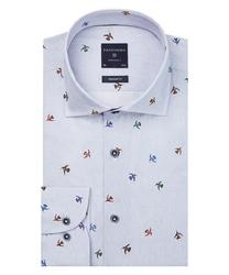Niebieska koszula profuomo w ptasi wzór regular fit 37
