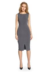 Sukienka midi bez rękawów podkreslająca figurę szara s092