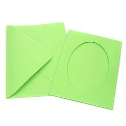 Kartka passe-partout owal - zielony jasny - ZIELJAS