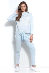 Błękitna dresowe spodnie z prostymi nogawkami