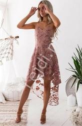 Kwiatowa haftowana sukienka z trenem, brudny róż