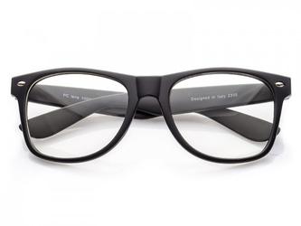 Okulary nerdy zerówki  czarne matowe 0070