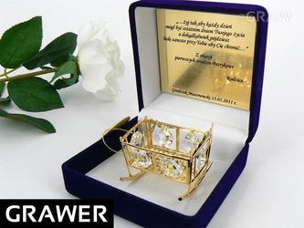 Kołyska chrzest roczek swarovski grawer tabliczka