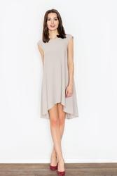 Beżowa rozkloszowana asymetryczna sukienka z półrękawkiem