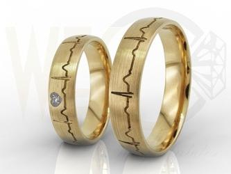 Obrączki ślubne z żółtego złota z waszym ekg, damska z cyrkoniami para ob-06z-r-c