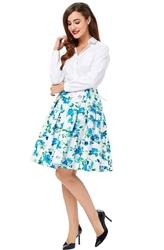 Bawełniana spódnica w niebieskie kwiaty rozkloszowana pin-up