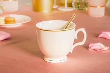 Filiżanka do cappuccino porcelana mariapaula ecru złota linia