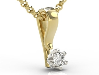Wisiorek z żółtego i białego złota z brylantem lpw-8010zb