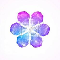 Naklejka szablon karty z kwiatu wykonane z kolorowych kamieni.