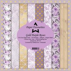 Papier ozdobny 15x15cm gold purple roses 24 szt. - gold purple roses
