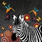Naklejka samoprzylepna ilustracja zebrą i kolibry