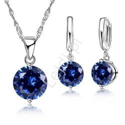 Posrebrzany komplet biżuterii z niebieskimi cyrkoniami, łańcuszeki i kolczyki