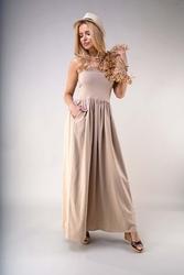 Długa sukienka z odkrytymi ramionami beżowa