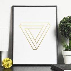 Bryła 3d - plakat w ramie ze złotym nadrukiem , wymiary - 60cm x 90cm, kolor ramki - biały, kolor nadruku - złoty