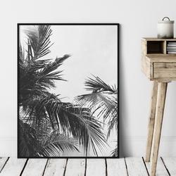 Plakat w ramie - palm view , wymiary - 70cm x 100cm, ramka - biała