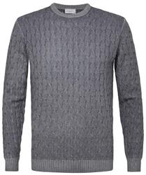 Sweter z fakturą szary s