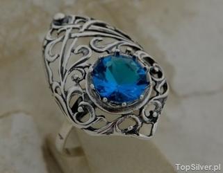 Kleo - srebrny pierścionek z akwamarynem
