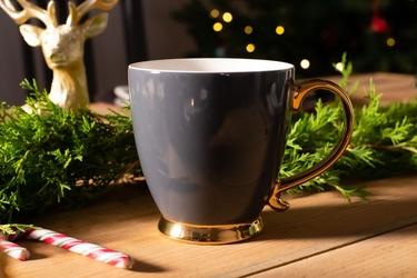 Duży kubek  filiżanka do kawy i herbaty porcelanowy altom design urban gold grafitowy 400 ml