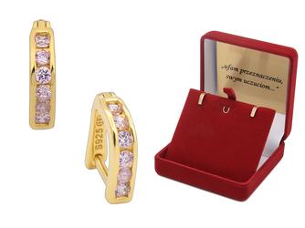 Srebrne pozłacane kolczyki pr 925 cyrkonia różowa złocone DEDYKACJA