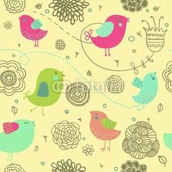 Naklejka samoprzylepna ładne tło wiosna - ptaki kreskówki w kwiatach