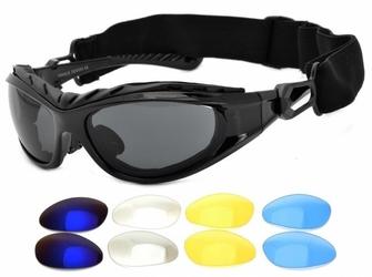 Okulary gogle narciarskie - 4 wymienne szkła + pasek + gąbka antyalergiczna 9095