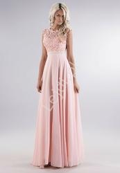 Jasnoróżowa delikatna sukienka z gipiurową koronką na biuście i perełkami