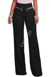 Eleganckie czarne elastyczne spodnie z zameczkami
