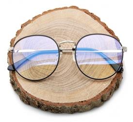 Lenonki okulary zerówki z antyrefleksem do komputera czarno-srebrne 2525-5