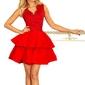 Czerwona  rozkloszowana imprezowa sukienka z koronką