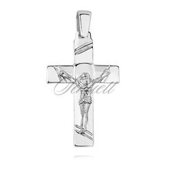 Srebrny pr.925 krzyżyk polerowany z wizerunkiem jezusa