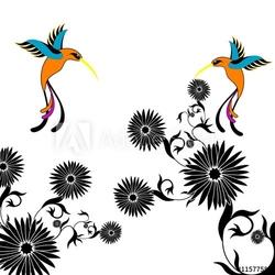 Obraz na płótnie canvas czteroczęściowy tetraptyk kwiat i kolibri