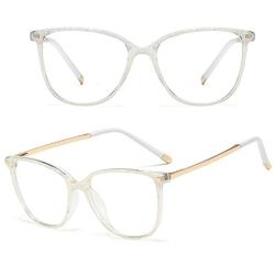 Okulary damskie zerówki białe nerdy złote kujonki