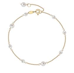 Staviori bransoletka złota. naturalne perły hodowlane słodkowodne. żółte złoto 0,585.  długość regulowana 19cm lub 18cm.