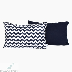 Poduszka dekoracyjna 60x40 - zygzaki - granatowo-białe