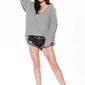 Oversizowy sweter z dekoltem v - jasnoszary
