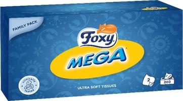 Foxy, mega, chusteczki kosmetyczne, kartonik, 200 sztuk