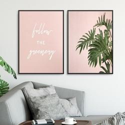 Zestaw dwóch plakatów - follow the greenery , wymiary - 60cm x 90cm 2 sztuki, kolor ramki - czarny