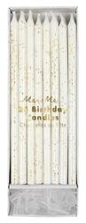 Świeczki białe zdobione złotym brokatem, 24 sztuki, meri meri
