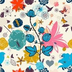 Obraz na płótnie canvas trzyczęściowy tryptyk wektor retro kwiatowy wzór bez szwu