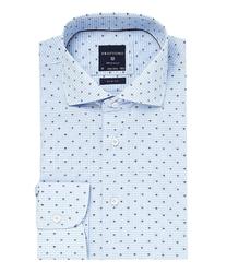 Elegancka błękitna koszula profuomo slim fit w drobną kratkę i kolorowy wzorek 40