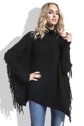 Czarny Sweter Ponczo z Frędzlami