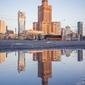 Warszawa poranek - plakat premium wymiar do wyboru: 59,4x84,1 cm