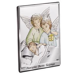 Srebrny obrazek z aniołkami kolorowymi 7x9,5 cm pamiątka chrztu z grawerem