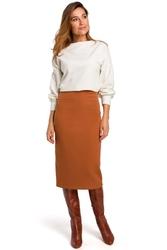 Ruda spódnica z odcinanym pasem