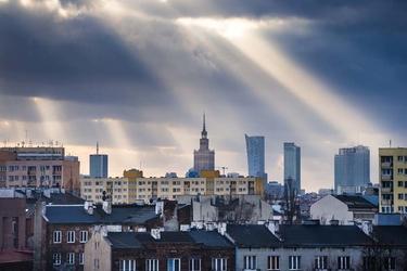 Warszawa objawienie panorama miasta - plakat premium wymiar do wyboru: 120x90 cm