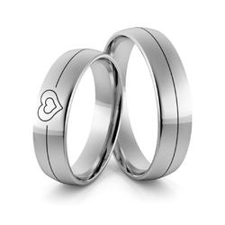 Obrączki srebrne z sercem i czarną emalią - wzór ag-371