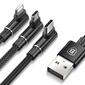 Kabel baseus mvp kątowy 3w1 micro usb - usb-c - lightning 120cm black
