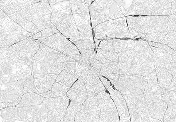 Paryż - mapa w odcieniach szarości - fototapeta