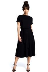 Czarna midi sukienka z szerokim dołem