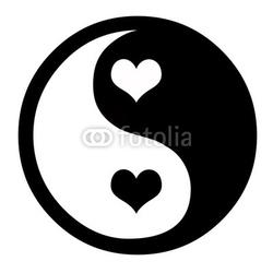 Naklejka samoprzylepna yin yang z sercami
